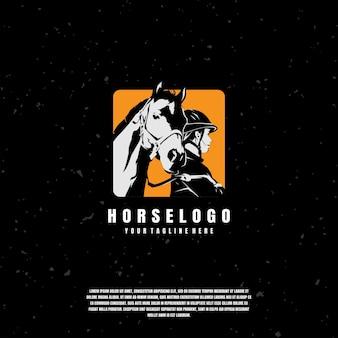 Шаблон логотипа иллюстрации лошади и жокея