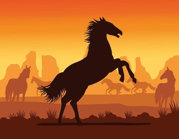 Лошадь черный силуэт животного в пустынном пейзаже