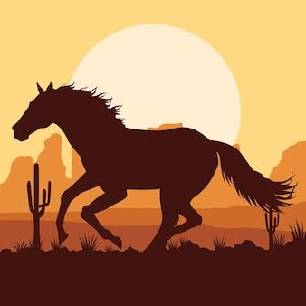 Лошадь черная бегущее животное в пустынном пейзаже