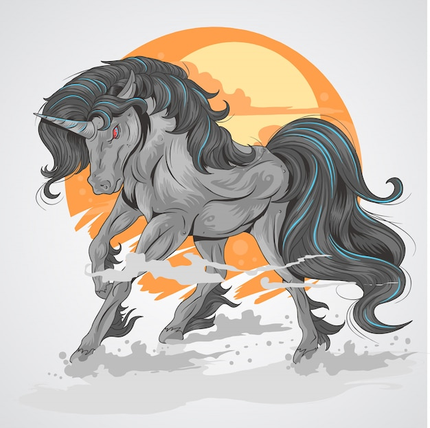Horse black unicorn with sun background and smoke on foot, rage black unicorn