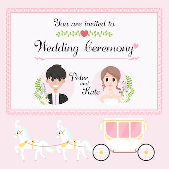 Horse carriage wedding invitation card