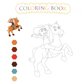 Horse cartoon , coloring book