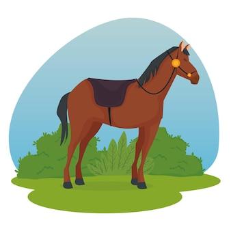Horse cartoon with shrubs illustration