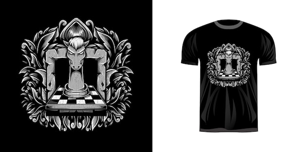Horse chess with engraving ornament for t-shirt design