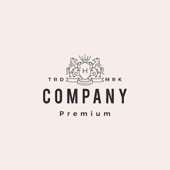 Horse coat of arms hipster vintage logo template