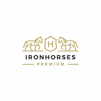 Horse coat of arms logo icon illustration
