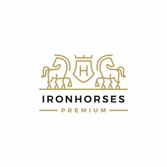 Лошадь герб логотип вектор