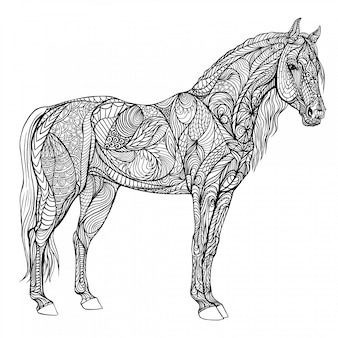 Horse coloring in full growth. hard