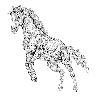 Horse decorative in hand drawing