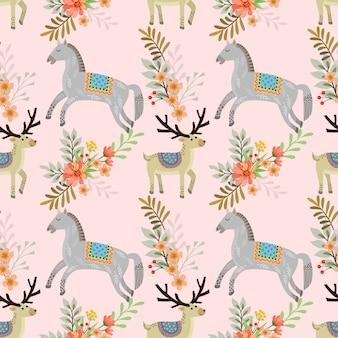 Horse and deer in garden seamless pattern.