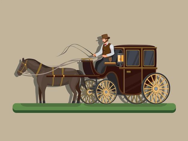 Конный экипаж. классический транспорт на лошади концепции в иллюстрации шаржа