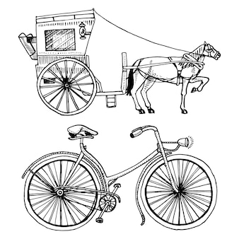 Horse-drawn carriage or coach and bicycle, bike or velocipede. travel illustration. engraved hand drawn in old sketch style, vintage transport.