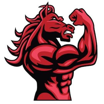 Horse fighter posing muscular body mascot vector logo design