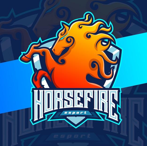 Конный огонь талисман киберспорт дизайн логотипа