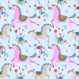 Horse in flowers garden seamless pattern image.