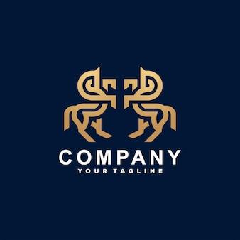 Horse gold gradient logo design