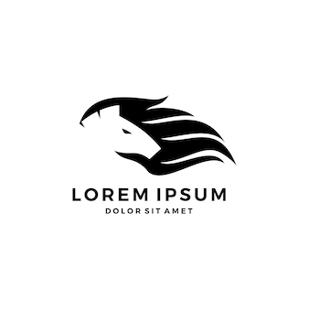 Horse hair logo icon illustration