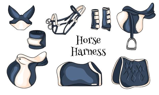 Конная сбруя комплект конного снаряжения седло уздечка одеяло защитные сапоги в мультяшном стиле. коллекция иллюстраций для дизайна и декора.