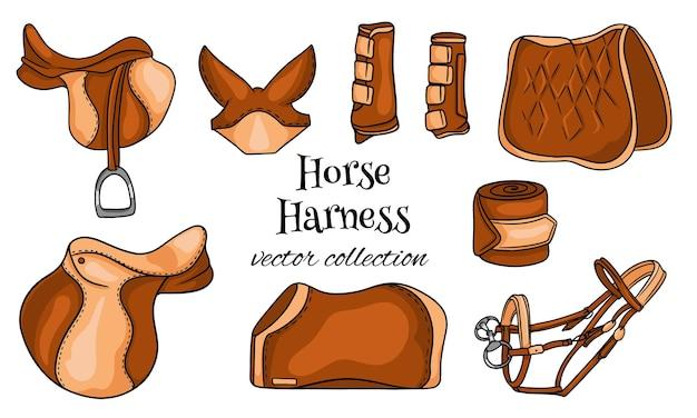 Конная сбруя комплект конного снаряжения седло уздечка одеяло защитные сапоги в мультяшном стиле. коллекция.