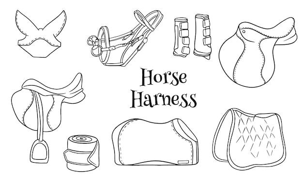 말 하네스 라인 스타일 색칠 공부 책에 승마 장비 안장 고삐 담요 보호 장화 세트. 디자인 및 장식용 삽화 모음입니다.