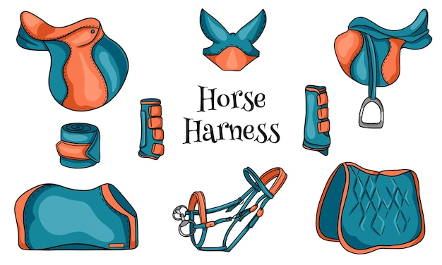 Horse harness a set of equestrian equipment saddle bridle blanket protective boots in cartoon style. collection of illustrations for design and decoration.