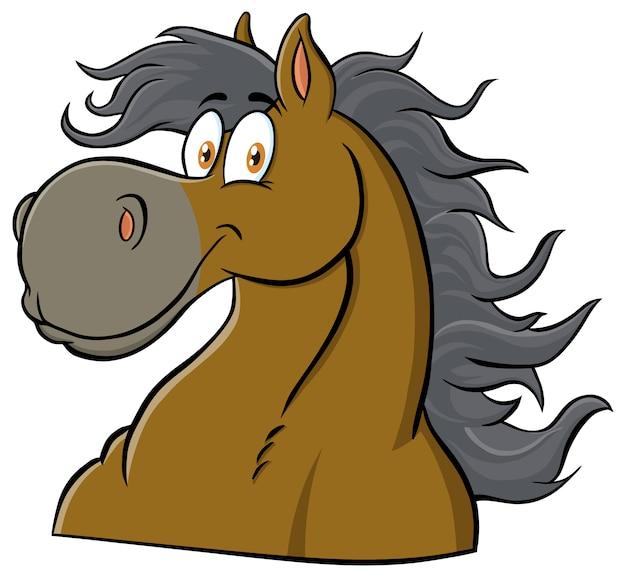 말 머리 만화 마스코트 캐릭터. 그림 흰색에 격리