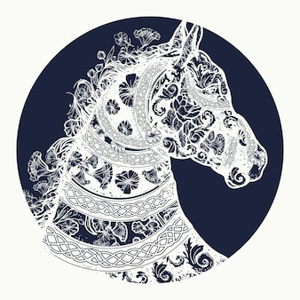 Horse head in ethnic style