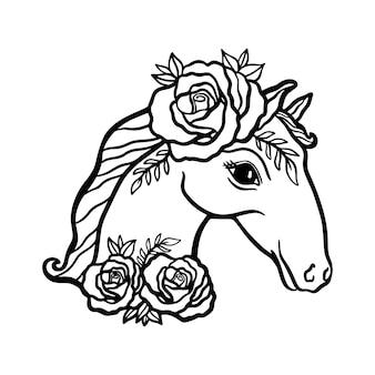 말 머리 꽃 꽃 장미 그림 개념