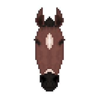 Horse head in pixel art style