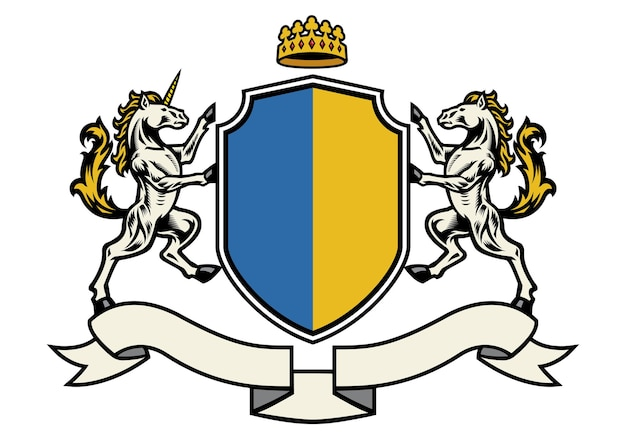 Horse heraldry in classic coat of arms style