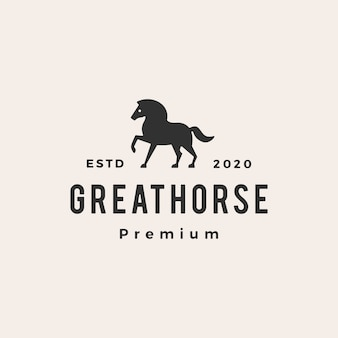 Horse hipster vintage logo icon illustration