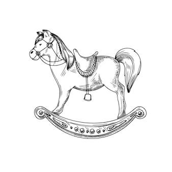 白い背景で隔離の馬。鹿の手描き、スケッチ。