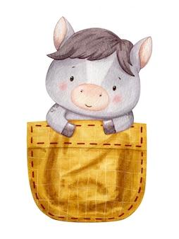 Лошадь ребенок сидит в желтом кармане и смотрит. милый характер иллюстрации ручной росписью в акварели.