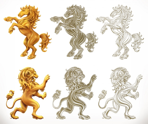 Horse and lion. 2d and engraving styles.