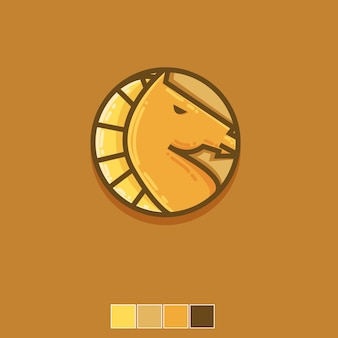 Horse logo icon flat template