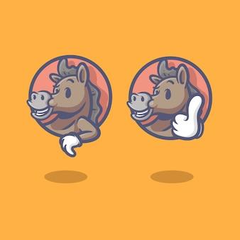 Horse logo retro character