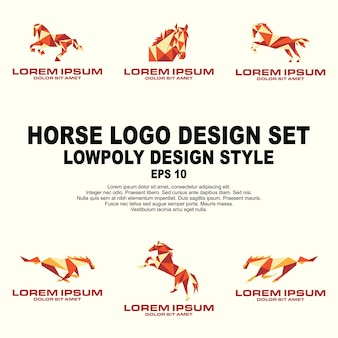 Horse low polyロゴデザインセット