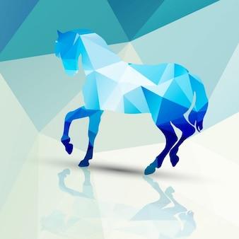 ポリゴンの背景で作られた馬