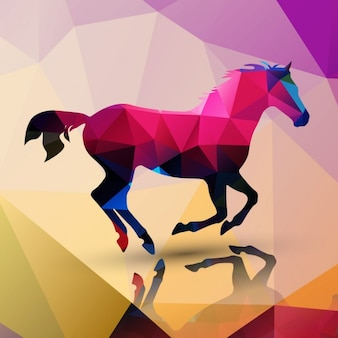 Horse made of polygons background