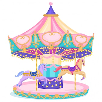Horse merry-go round carnival carousel isolated