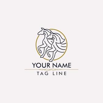 馬モノラインのロゴのベクトル