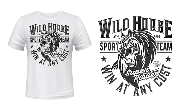 Лошадь мустанг талисман футболка с принтом, жеребец, конный спорт, гоночный клуб. кобыла животное с типографикой монохромный гранж и голова лошади на белой одежде. футболка bronco sports team