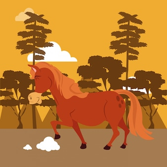 Horse in the nature cartoon