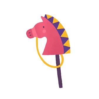 スティックフラットベクトルイラストの馬。白い背景で隔離の動物の頭のおもちゃ。カラフルなおもちゃ、子供時代のアクセサリー。小さな子供のための楽しいゲーム。キッズレジャーとエンターテインメント。