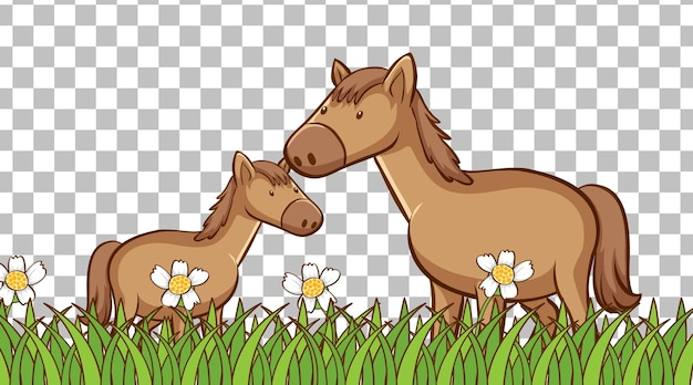 透明な背景の芝生のフィールドに馬