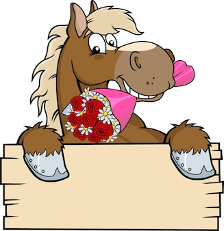 Horse outlined cartoon over a blank wood sign biting a bouquet.