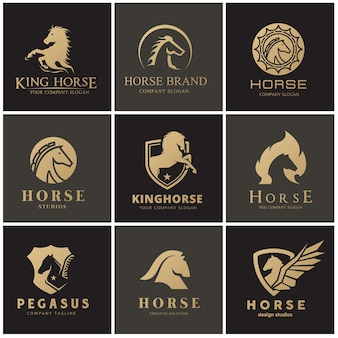 Horse and pegasus logo set