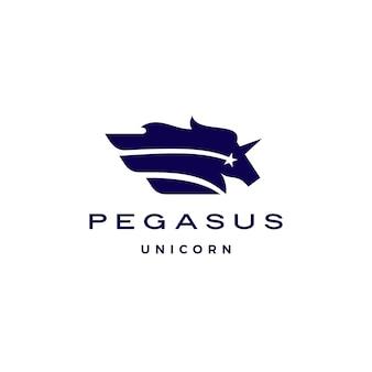 Horse pegasus unicorn star wing logo