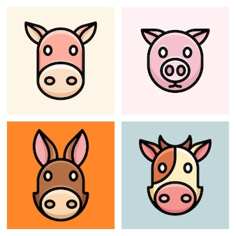 Horse, pig, donkey, and cow