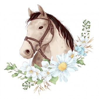디지털 수채화 스타일의 말 초상화와 데이지 꽃다발